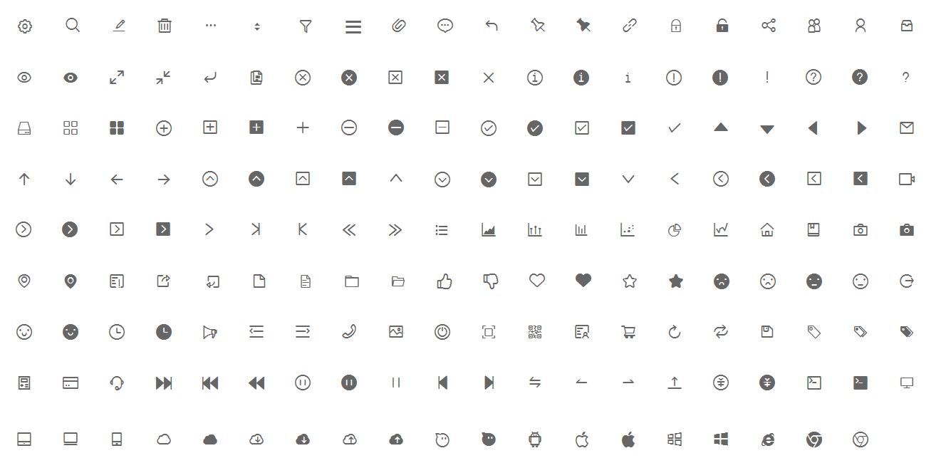 移动APP常用字体icon(需8.0版本打开)